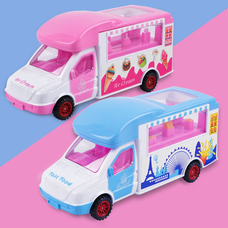 Children Electric Ice Cream Car Ice Cream Truck Universal Wheel CHILDREN'S Song Toy GIRL'S And BOY'S Shining Music Model Food