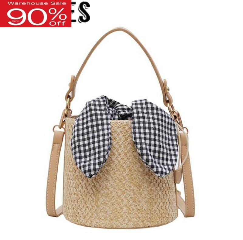 2020 Summer Korean Fashion Women Bow Knot Retro Vintage Beach Bag Street Style Straw Woven Bucket Bags