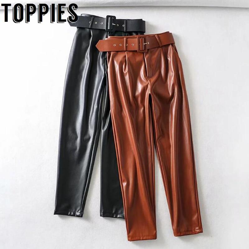 Pantalones rectos de cuero para mujer, pantalón de cintura alta con cinturón, color negro y marrón