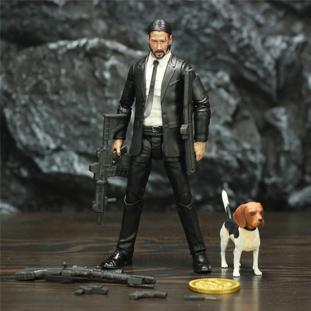 Original Diamond Select Toys John Wick 7″ Action Figure With Dog Coin Guns DST Keanu Reeves Collection Collectible Model Doll