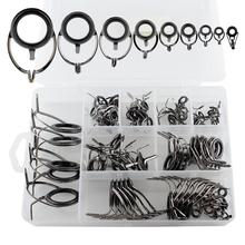 80pcs fishing rod guides ring tip set repair kit diy eye rings for fishing rod stainless steel frames with fish box pesca 75pcs Mixed Stainless Steel Guide Ring Fishing Accessories Fishing Rod Wire Ring Tip Set Kit Strong DIY Eye Rings for Lure R
