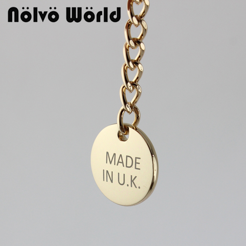 10 Pieces,70*23mm Laser Engraved Tags,Made In UK,Made In U.S.A Round Label Tag With Chains