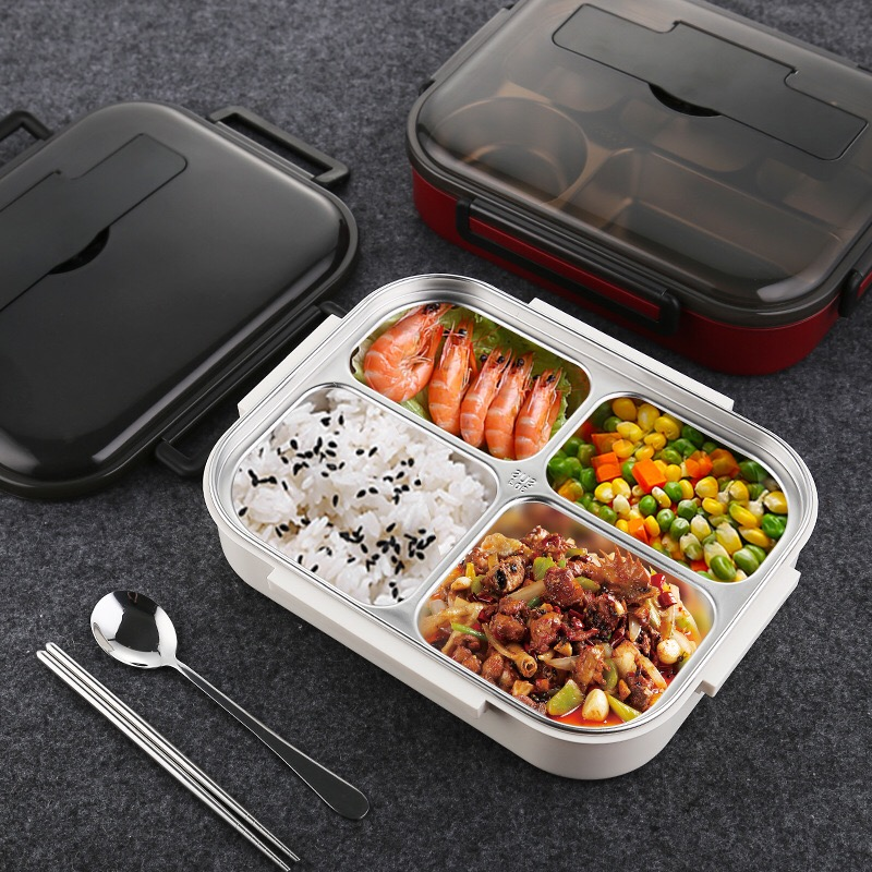 New Food containe Portable Stainless Steel Lunch Box Japanese-style with Compartments Leakproof Bento Box for kids with Tablewar