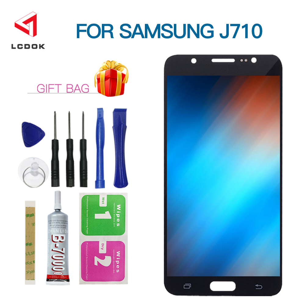 Helligkeit Einstellbar Für Samsung Galaxy J7 2016 J710 <font><b>J710F</b></font> J710FN J710M <font><b>LCD</b></font> Display Touchscreen Digitizer Montage Panel Teile image
