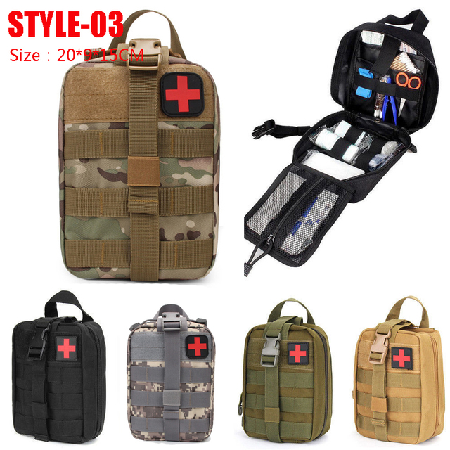 Hunting Survival First Aid Bag Outdoor SOS Pouch Army Tactical Waist Bag Medical Kit Bag Molle Belt Backpack EDC Emergency Pack 4