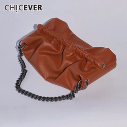 CHICEVER PU Leather Women's Bag Metal Chain Ruched Casual Oversized Clothing Accessories Bags Female Korean New Fashion 2020