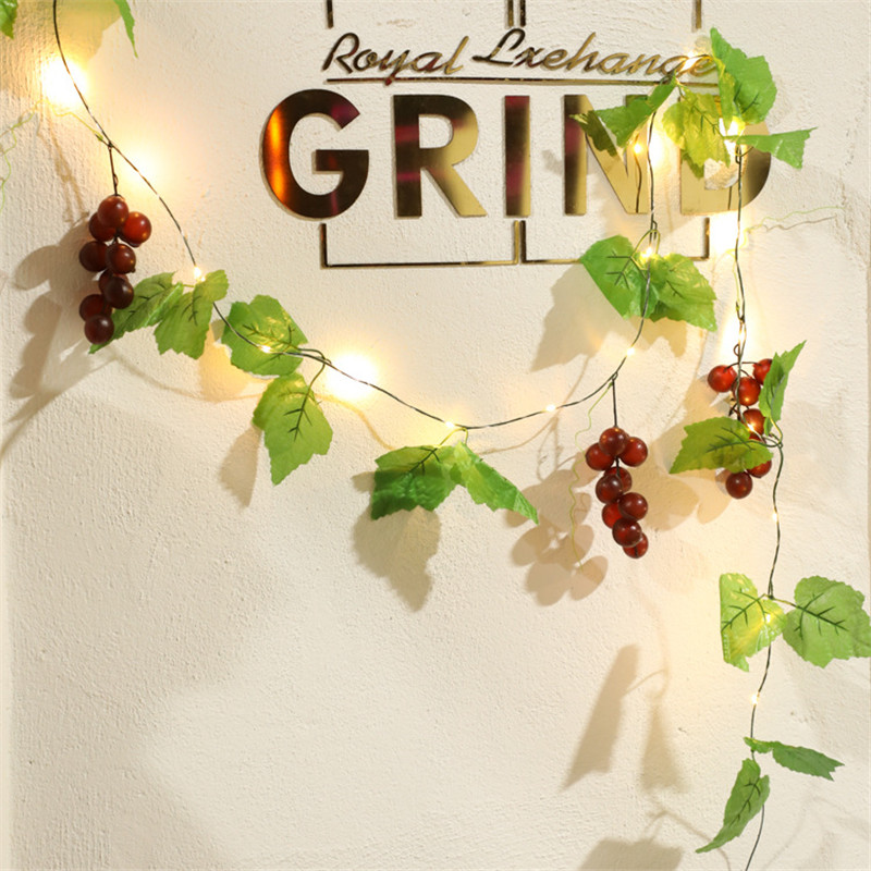Ivy Grape Leaves 2M Garland Fairy Lights Led String DIY Lamp Artificial Grape For Wedding Home Decoration Led Copper Lighting