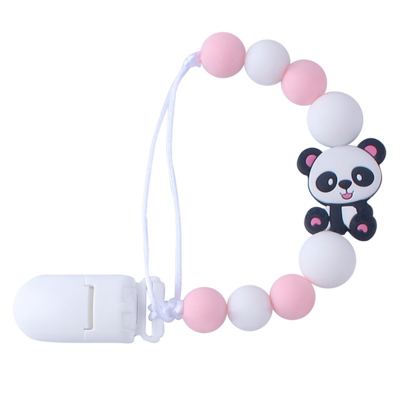 Hot Sale Baby Teether Silicone Pacifier Chain Baby Silicone Panda Nipple Clip Baby Care Supplies New Arrival