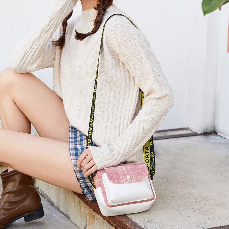 Women's Contrast Color Cool Lettered Webbing Shoulder Square Sling Bag 2019 Winter New Products Shoulder Purse
