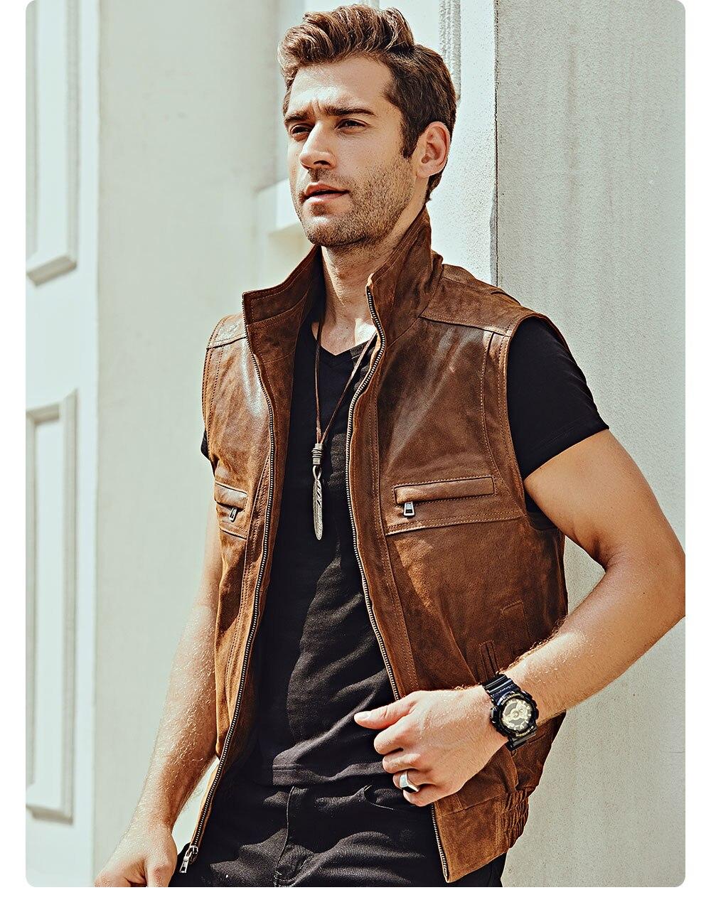 H3f916b8d3bcb4067ae6e37931299f8885 Mew Men's Leather Retro Vest Stand Collar Men's Motorcycle Casual Vest