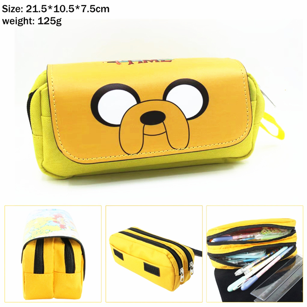 Anime Adventure Time Jake Canvas Pencil Case Women Portable Travel Cosmetic Bag Student Zip Penbag Cartoon Makeupbag Stationery