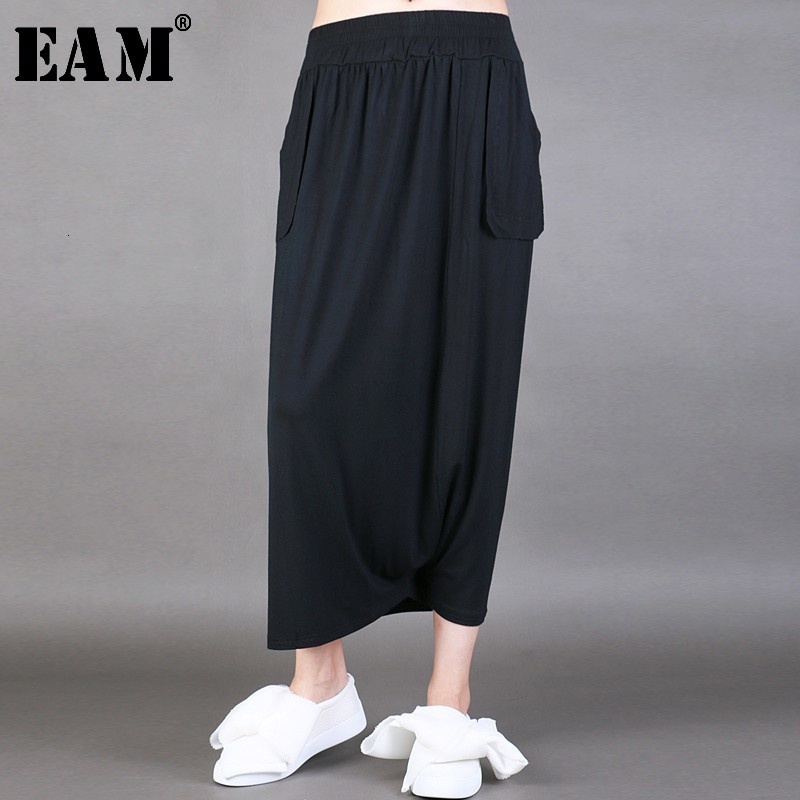 [EAM] High Elastic Waist Black Pleated Split Long Wide Leg Trousers New Loose Fit Pants Women Fashion Spring Autumn 2020 JL9190
