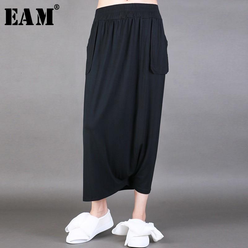 [EAM] High Elastic Waist Black Pleated Split Long Wide Leg Trousers New Loose Fit Pants Women Fashion Spring Autumn 2020 JL9190