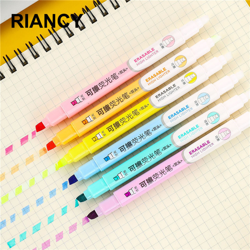 Highlighter-Pen Erasable Stationary-Supplies Office-Pastel-Markers Fluorescent Double-Head