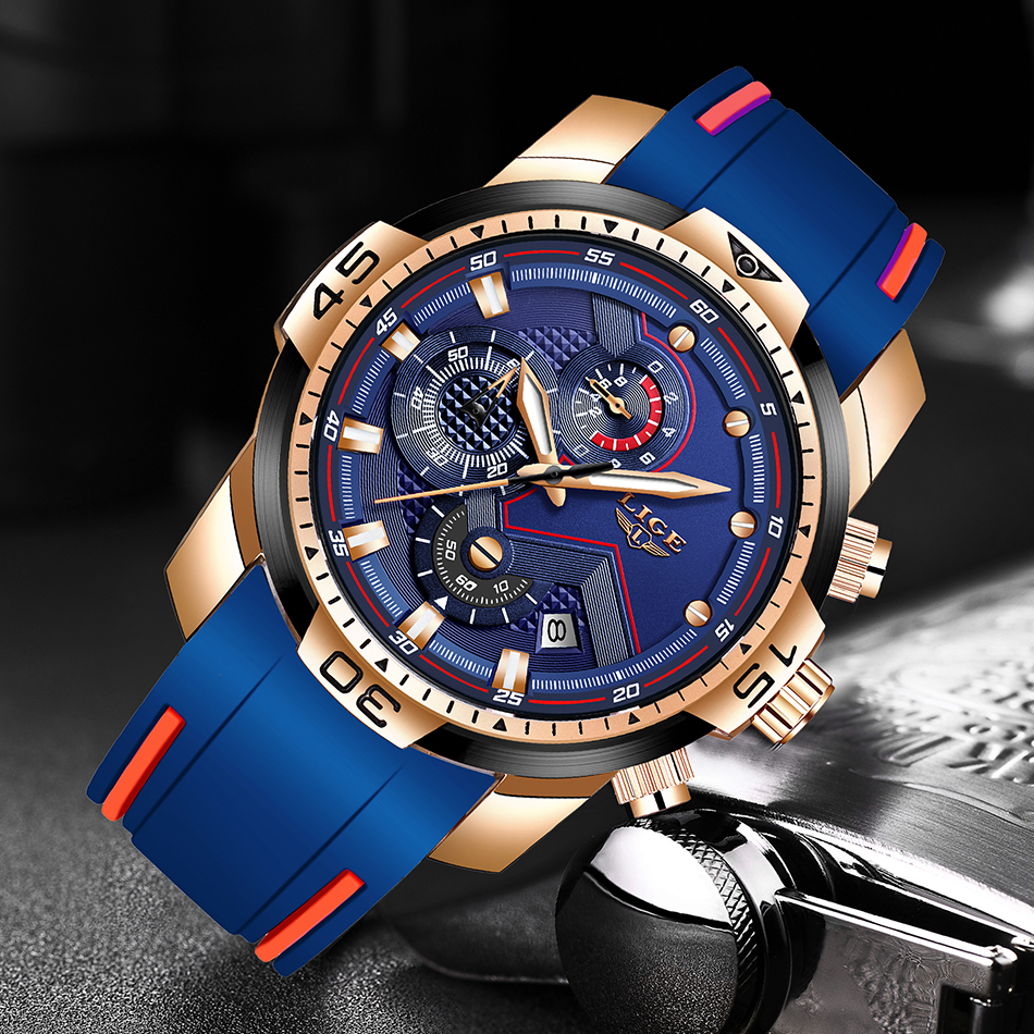 H3f916f2ebf23434d832336c7caea623aD 2020 LIGE Sport Watch Men Brand Luxury Chronograph Silicone Strap Quartz Mens Watches Waterproof Clock Relogio Masculino+Box