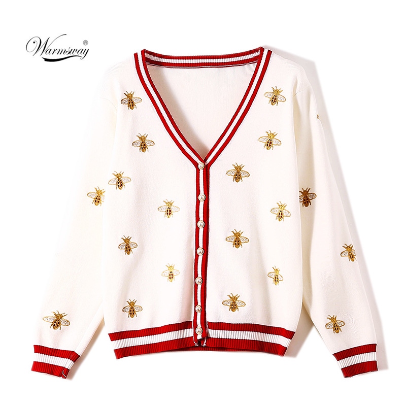 High Quality Fashion Designer Bee Embroidery Cardigan Long-sleeve Single Breasted Contrast Color Button Knitted Sweaters CY-095