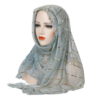 Muslim Women Hijab Head Coverings Sequins Scarf Islamic Headscarf Turkish Islam Turban Bandana Women Foulard Hijab 70 180cm solid color chiffon female wrapped scarf arab turkish inner hijab muslim lady shawl turban islam headscarf for women