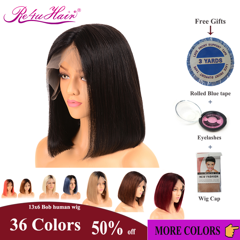 Re4U 150% Bob Wig Lace Front Human Hair Wigs Straight 13x6 13x4 Remy Brazilian Hair 32 Colors Pre-Plucked Bleached Knots 8