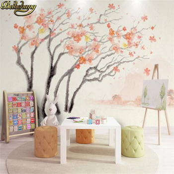 beibehang  custom Sakura abstract tree photo mural wallpaper TV background watercolor flowers nordic decorative wall painting