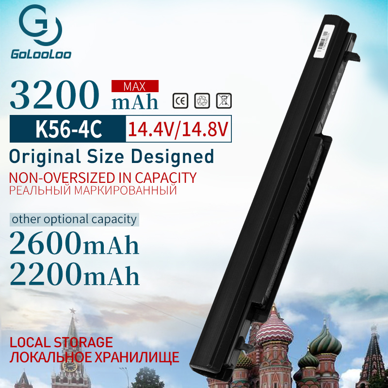 Golooloo 3200 MAh 4 Cells Laptop Battery For Asus A31-K56 A32-K56 A41-K56 A42-K56 A56CM A56V A46C K46 K56 A46C A56 R505C S56c