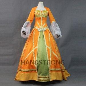 Image 1 - Top Quality 2019 Movie Aladdin Jasmine Princess Orange Dress Women Girl Halloween Party Cosplay Costume Arabian Royal Gown Dress