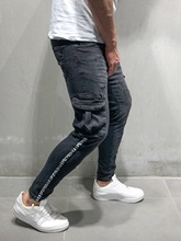 Men jeans Side Stripe Pocket Jeans Denim Pencil New Fashion skinny Street trend  style Youth pants
