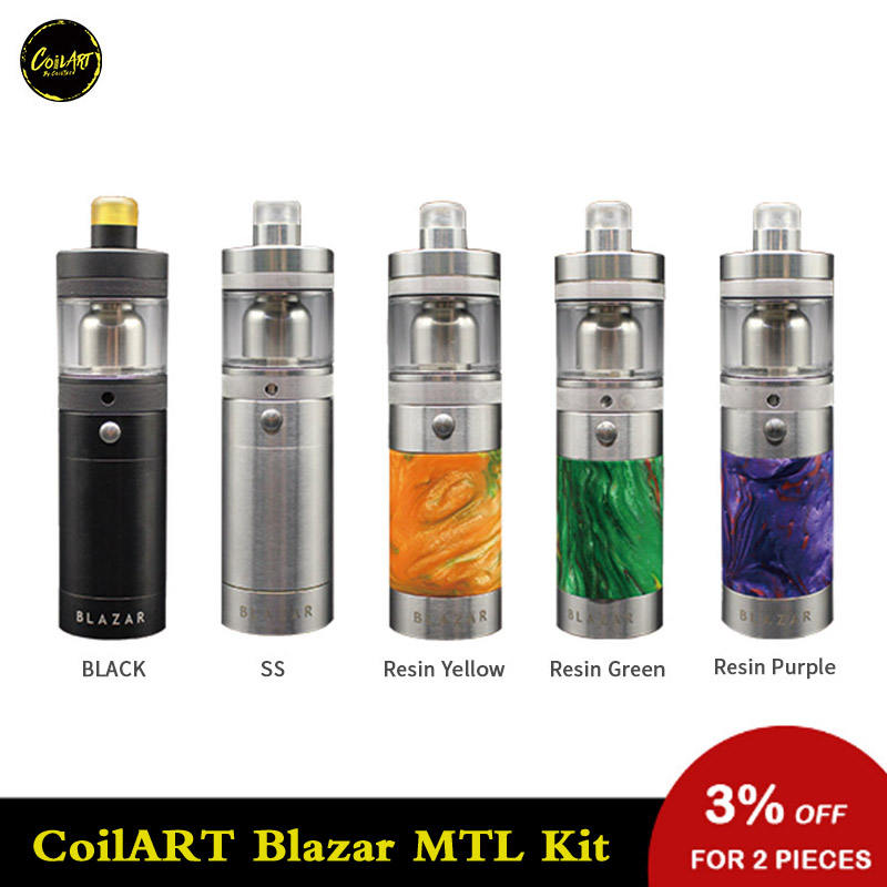 Original CoilART Blazar MTL Starter Kit Portable Vape Kit With 4ml Tank Vape Powered By 18350 Battery Electronic Cigarette