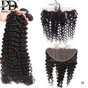 28 30 pouces vague profonde cheveux brésiliens armure 3 4 paquets avec 13x4 dentelle frontale et fermeture Remy cheveux faisceaux avec Frontal M