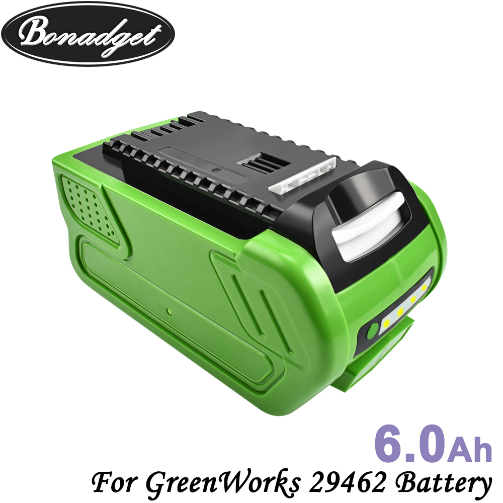Bonadget 40V 6000mAh Rechargeable Battery For GreenWorks 29462 29472 29282 G-MAX GMAX Replacement Lawn Mower Power Tools Battery