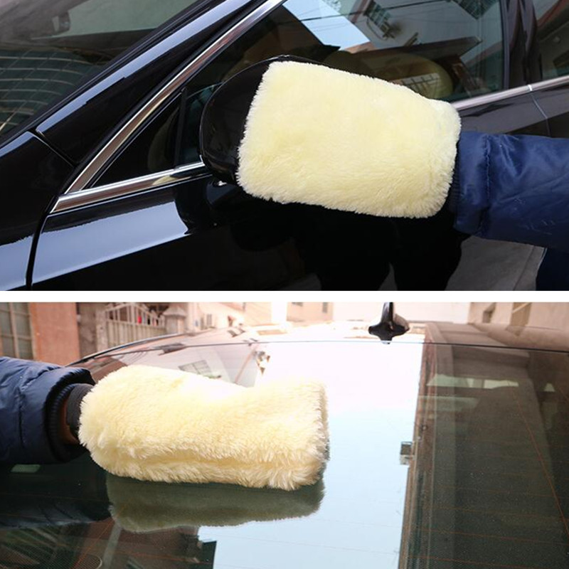 1PC Real Sheepskin Mitt Car Soft Polishing Glove Lambswool Washing Cleaning Polish Car Cleaning Washing