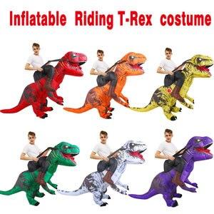 Image 3 - KOOY nadmuchiwany kostium dinozaura T REX Rider kostiumy Purim Carnival Party przebranie na karnawał kostium na Halloween dla mężczyzn kobiety dzieci