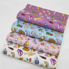 Cartoon Printed Synthetic Pvc Leather Fabric  Multicolor Leather Upholstery Fabric DIY Sewing Hair Bow Purse Accessorie Material 6pcs 20x22cm shinny glitter fabric diy sewing patchwork faux leather upholstery fabric hnadicarft diy bow accessories material