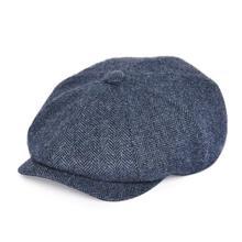 BOTVELA 100% Wool Tweed Newsboy Cap for Men Herringbone 8 Panel Apple Caps Cabbi