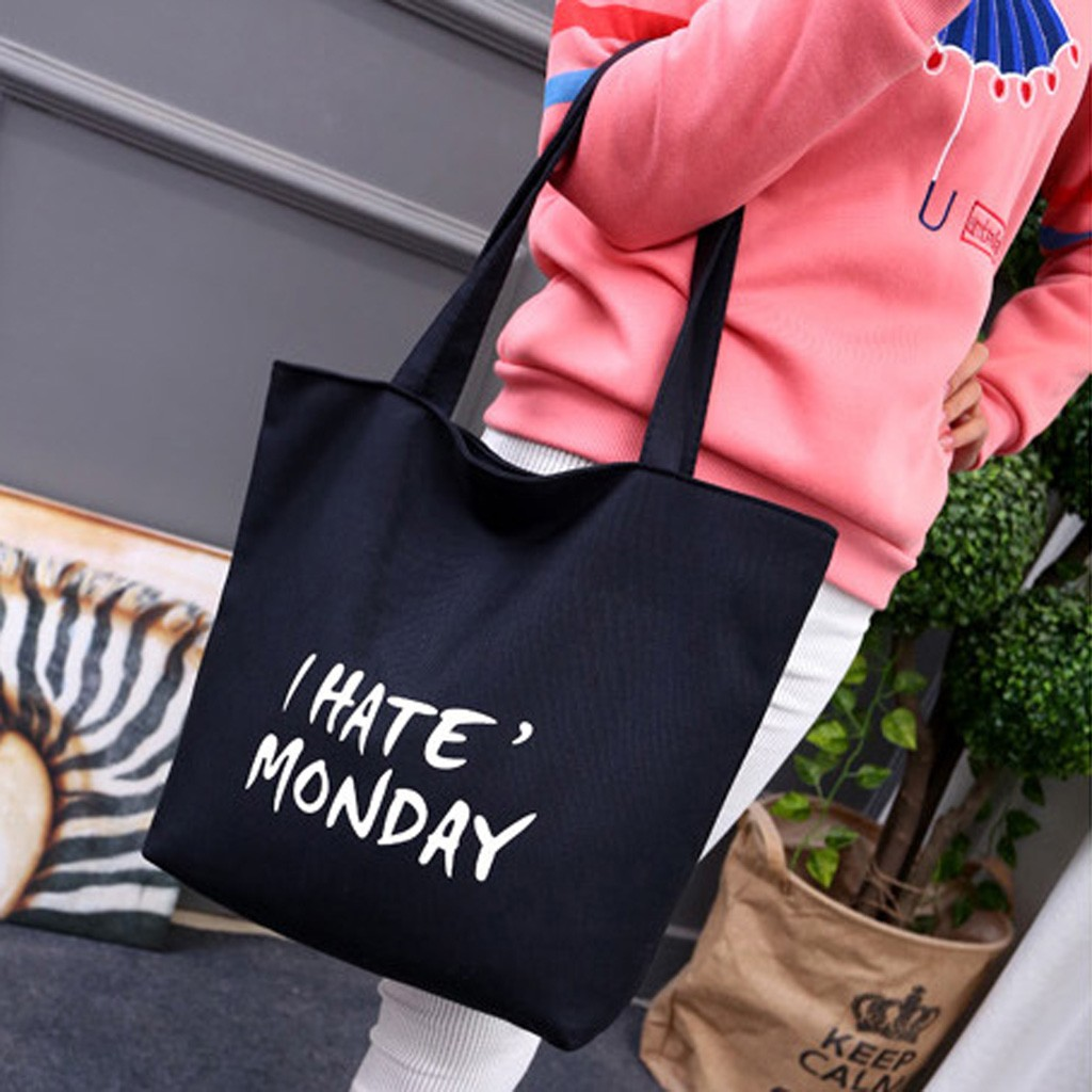 Women Shopping Bag Tote Bag Print Letter Environmental Protection Canvas Bag Eco Bag Bolsas Ecologicas Reutilizables 12C