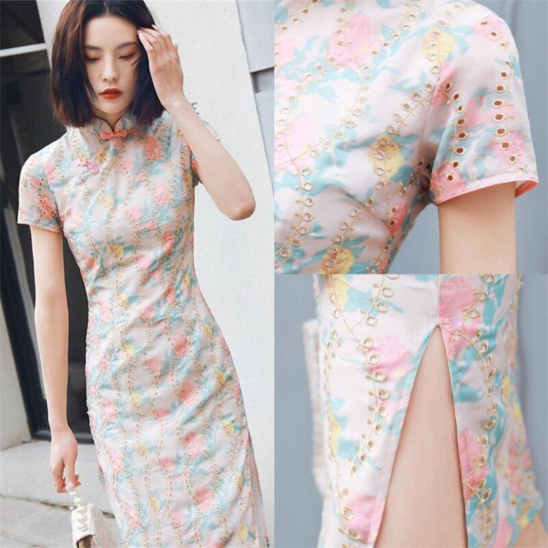 2019 Luxury Summer Cheongsam Qipao Modern Womens Vintage Embroidery Chinese Dress Chiffon Modified Qi Pao Plus Size XXL