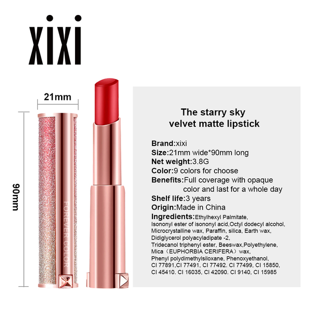 Starry Sky Lipstick Waterproof Velvet Lip Stick 10 colors Sexy Nude Matte Makeup Cosmetics 4