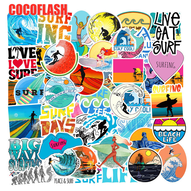 10/50 PCS/set Summer Surfing Sticker Beach Travel Graffiti Surf Stickers DIY For Surfboard Laptop Luggage Bicycle Tablet