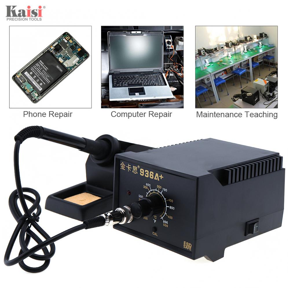 Kaisi <font><b>936A</b></font>+220V 60W Adjustable Constant Temperature Soldering Station with Soldering Iron for Welding Electronic Products image