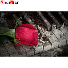 Full square DIY 5D Diamond painted Christmas gift on the piano rose cross stitch home decoration diamond embroidery mosaic ZWQ(China)