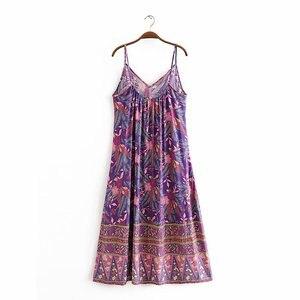 Image 3 - Vintage chic kadınlar çiçek baskı kolsuz plaj Bohemian maxi elbise bayanlar v yaka püskül rayon pamuk Boho elbise vestidos
