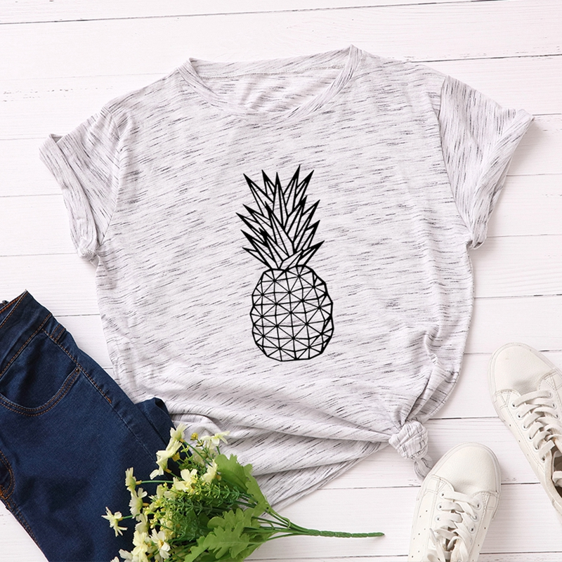 100% Cotton Plus Size S-5XL Women T-shirts Graphic Tees Female Shirts Summer Tops Pineapple Printed Funny T Shirt Fruits Tee Top