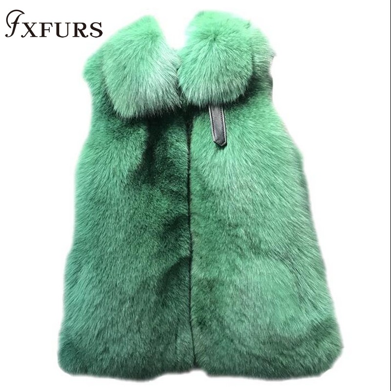 FXFURS Natural Real Fox Fur Vest Waistcoat Short Sleeveless Vestwoman Winter Warm Natural Fur Vest Real Fur Jacket Fox Fur Coats
