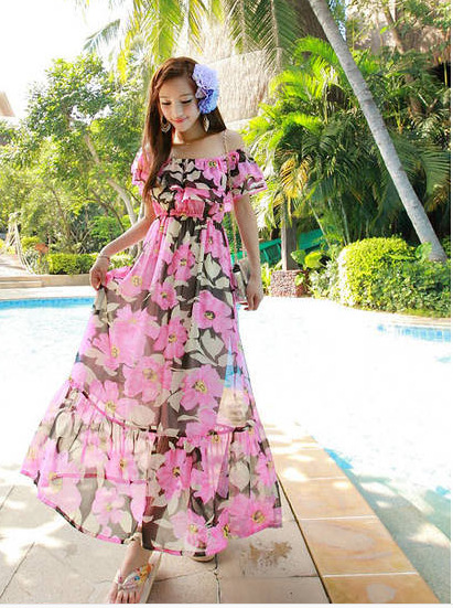 Horizontal Neck Bohemian Long Skirts Chiffon Dress Beach Skirt Long Skirts Immortal Long Skirts