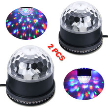 2PCS Sound Activated Rotating Disco Ball DJ Party Lights RGB LED Stage Lights For Christmas Home Wedding Show(China)