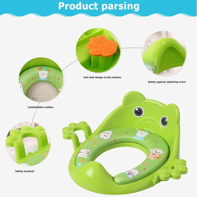 Cartoon Baby Trainers Toilet Potty Seat Cushion with Armrest Portable Outdoor Travel Infant Children Toilet Training Ring Pad | Happy Baby Mama