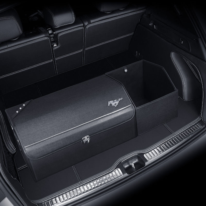 For Ford Mustang Shelby Microfiber Leather Trunk Multifunction Storage Box Car Accessories Interior Modification