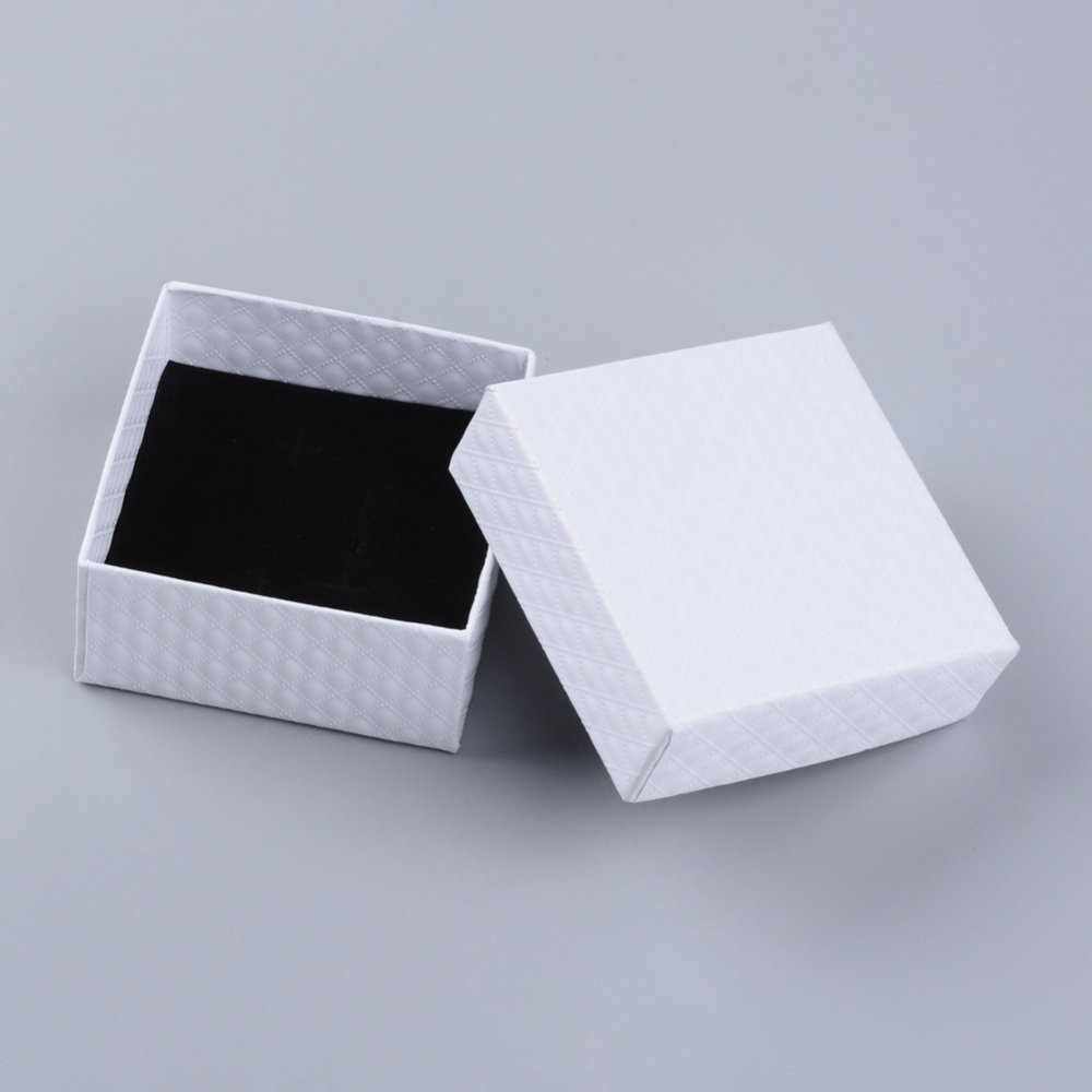 12pcs Cardboard Jewelry Bracelet Gifts Boxes Square White 7.5x7.5x3.5cm Packaging Display Storage Box With Sponge Inside