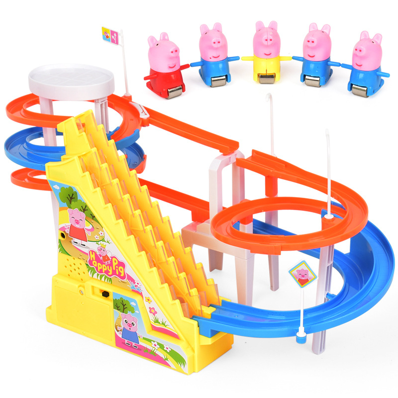 Peppa Pig Toys George Family Educational Toys Electric Music Track Ladder Slide Plastic Toys Children PEPPAPIG Birthday Gift