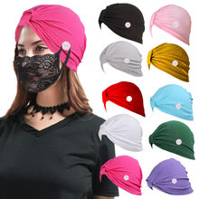 New style women's anti-leather solid color button hood cap hot sale non-slip mask milk silk elastic hat turban(China)