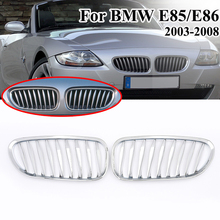 MagicKit 1 Pair Chrome Silver Plating Car Front Kidney Sport Grille Grills for BMW Z4 Coupe Cabriolet M Roadster E85 2003-2008